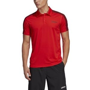 red and black adidas polo